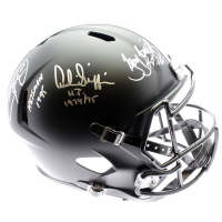 Eddie George, Troy Smith & Archie Griffin Signed Ohio State Buckeyes Full-Size Speed Helmet With (3) Heisman Inscriptions (JSA COA)