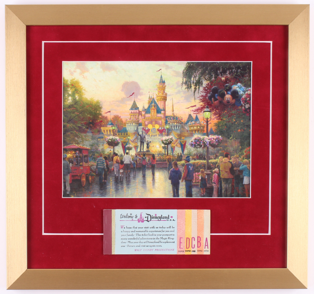 "Thomas Kinkade ""Disneyland"" 16x17 Custom Framed Print with Ticket Booklet at PristineAuction.com"