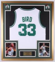 Larry Bird Signed Boston Celtics 32x36 Custom Framed Jersey Display (Bird Hologram)