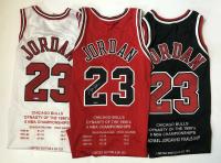 Michael Jordan Signed Set of (3) Chicago Bulls Limited Edition Career Highlight Stat Jereys (UDA COA)