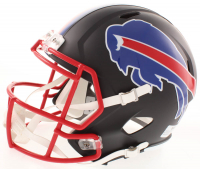 """Josh Allen Signed Buffalo Bills Full-Size Matte Black Speed Helmet Inscribed """"Bills Mafia"""" (Beckett COA) at PristineAuction.com"""