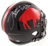 "Josh Allen Signed Buffalo Bills Full-Size Matte Black Speed Helmet Inscribed ""Circle The Wagons"" (Beckett COA)"