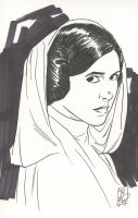 """Tom Hodges - Princess Leia - """"Star Wars"""" - Signed ORIGINAL 5.5"""" x 8.5"""" Drawing on Paper (1/1) at PristineAuction.com"""