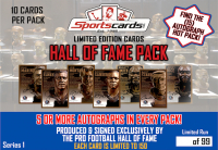 NFL Hall of Fame Autograph Pack Mystery Box – (10) Bronze Post Cards Per Pack!