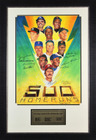 500 Home Run Club 24x35 Custom Framed Lithograph Display Signed by (11) with Ted Williams, Mickey Mantle, Willie Mays, Frank Robinson (JSA LOA)
