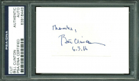 """Bill Clinton Signed 1.25x2.25 Cut Inscribed """"Thanks"""" & """"6-3-16"""" (PSA Encapsulated)"""