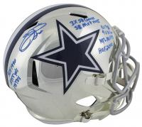 Emmitt Smith Signed LE Dallas Cowboys Full-Size Chrome Speed Helmet with Multiple Career Stat Inscriptions (Beckett COA & Prova Hologram)