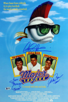 "Charlie Sheen, Tom Berenger, & Corbin Bernsen Signed ""Major League"" 12x18 Movie Poster Inscribed ""Taylor"" & ""Dorn"" (Beckett COA)"