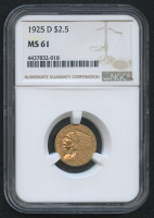 1925-D $2.50 Indian Quarter Eagle Gold Coin (NGC MS 61)