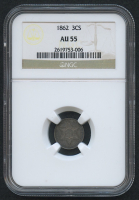 1862 3¢ Three Cent Silver US Coin (NGC AU 55)