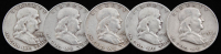 Lot of (5) Franklin Silver Half-Dollars with 1951, 1952-D, 1957-D, 1959, & 1960-D at PristineAuction.com