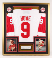 Gordie Howe Signed Detroit Red Wings 32x36 Custom Framed Cut Display (PSA COA)