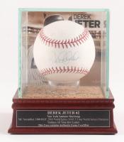 Derek Jeter Signed OML Baseball with High Quality Game-Used Dirt Display Case (Steiner COA & MLB Hologram)