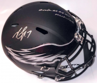 """Michael Vick Signed Philadelphia Eagles Matte Black Full-Size Speed Helmet Inscribed """"Miracle at the New Meadowlands"""" (PSA COA)"""