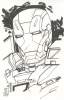 """Tom Hodges - War Machine - """"Iron Man"""" - Marvel Signed ORIGINAL 5.5"""" x 8.5"""" Drawing on Paper (1/1) at PristineAuction.com"""