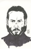 """Tom Hodges - John Wick - Keanu Reeves - Signed ORIGINAL 5.5"""" x 8.5"""" Drawing on Paper (1/1) at PristineAuction.com"""