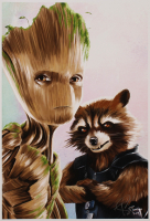 Tony Santiago - Rocket Raccoon & Teen Groot - Guardians of the Galaxy - Marvel Comics 13x19 Signed Lithograph (PA COA) at PristineAuction.com