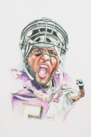 Ray Lewis - Ravens - Brian Barton 12x18 Signed Limited Edition Lithograph #/250 (PA COA) at PristineAuction.com