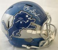 Barry Sanders Signed Detroit Lions Full-Size Hydro Dipped Speed Helmet (Beckett COA & Schwartz Hologram)