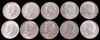 Lot of (10) 1965-1969 Kennedy Silver Clad Half-Dollars