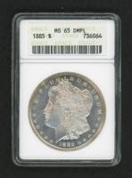 1885 $1 Morgan Silver Dollar Deep Mirror Proof Like (ANACS MS 65)