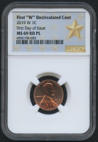 2019-W 1¢ Lincoln Cent - First Day of Issue (NGC MS 69 RD PL)