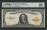 1922 $10 Ten Dollars U.S. Gold Certificate Large Size Bank Note (PMG 40) at PristineAuction.com