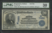 1902 $20 Twenty Dollars - The First National Bank of Morgantown, Indiana - National Currency Large Size Bank Note Bill (PMG 30)