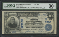 1902 $10 TenDollars - The First National Bank of Morgantown, Indiana - National Currency Large Size Bank Note Bill (PMG 30) (EPQ)