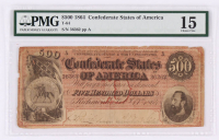 1864 $500 Five Hundred Dollars Confederate States of America Richmond CSA Bank Note (T-64) (PMG 15)