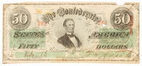1863 $50 Fifty Dollar Confederate States of America Richmond CSA Bank Note