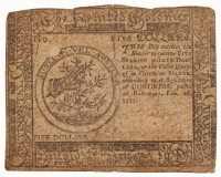 1777 $5 Five Dollars Continental Colonial Currency Note at PristineAuction.com