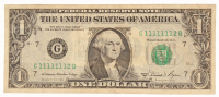 "Seven-In-A-Row ""Fancy Serial Number"" 1981-A $1 One-Dollar Federal Reserve Note"
