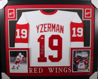 Steve Yzerman Signed Detroit Red Wings 35x43 Custom Framed Jersey (JSA COA & Yzerman Hologram)