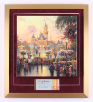 "Thomas Kinkade 50th Anniversary ""Disneyland"" 20x22 Custom Framed Canvas on Wood Display with Full Vintage Ticket Booklet"