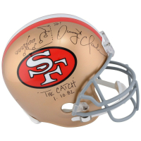 """Dwight Clark Signed San Francisco 49ers Full-Size Authentic On-Field Helmet Inscribed """"The Catch"""" & """"1-10-82"""" with Hand-Drawn Play (Fanatics Hologram) at PristineAuction.com"""