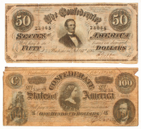 Lot of (2) 1864 Confederate Bank Notes with $100 & $50