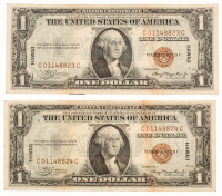 Lot of (2) 1935-A $1 One Dollar Hawaii Brown Seal Silver Certificate Bank Note Bills with Consecutive Serial Numbers