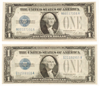 "Lot of (2) 1928-A ""Funny Back"" $1 One Dollar U.S. Silver Certificates with Consecutive Serial Numbers"
