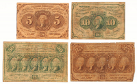 1862 First Issue Set of (4) United States Fractional Currency Bank Notes with 5¢, 10¢, 25¢, & 50¢
