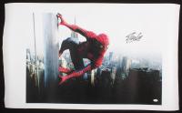 "Stan Lee Signed ""Spiderman"" 24x40 Photo On Canvas (JSA COA)"