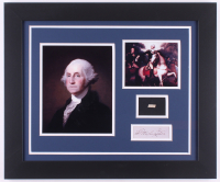 George Washington 19.5x23.5 Custom Framed Cut Display with (1) Hand-Written Word from Letter (JSA LOA Copy)