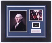 George Washington 19.5x23.5 Custom Framed Cut Display with (1) Hand-Written Word from Letter (JSA LOA Copy)