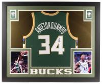 Giannis Antetokounmpo Signed Milwaukee Bucks 35x43 Custom Framed Jersey (JSA Hologram)