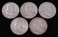 Lot of (5) Franklin Silver Half-Dollars with 1951-S, 1959, 1954-D, 1960-D, & 1962-D