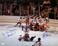"""Mike Eruzione Signed Team USA """"Miracle on Ice"""" 16x20 Photo Inscribed """"Do you Believe in Miracles?"""" (JSA COA)"""
