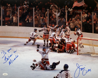 "Jim Craig Signed Team USA ""Miracle on Ice"" 16x20 Photo Inscribed ""Do you Believe in Miracles"" (JSA COA)"