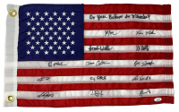 "1980 Team USA ""Miracle on Ice"" American Flag Team-Signed by (13) with Mike Eruzione, Bill Baker, Dave Christain, Steve Christoff Inscribed ""Do You Believe in Miracles?"" (JSA COA) at PristineAuction.com"