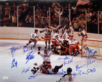 "1980 Team USA ""Miracle On Ice"" 16x20 Photo Signed by (14) with Jim Craig, Mike Eruzione, Bill Baker, Dave Christian, Steve Christoff, Steve Janaszak, Rob McClanahan (JSA COA) at PristineAuction.com"