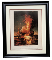 """U.S. Navy """"The Most Bold and Daring Act of the Age"""" 22x27 Custom Framed Lithograph Display"""